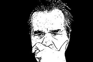 line drawing of man pondering